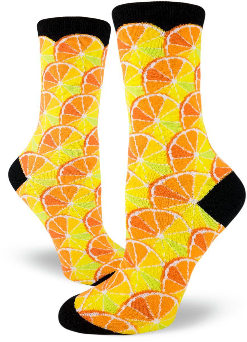 Long Knee High Boot Socks Personalized Lemons Slice Citrus Socks