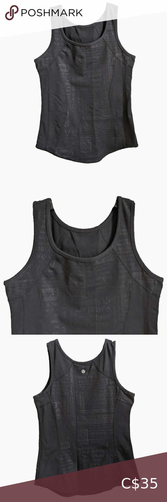 Lululemon Athletica Black Tank Top With Logo Black Tank Tops Tops Tank Tops