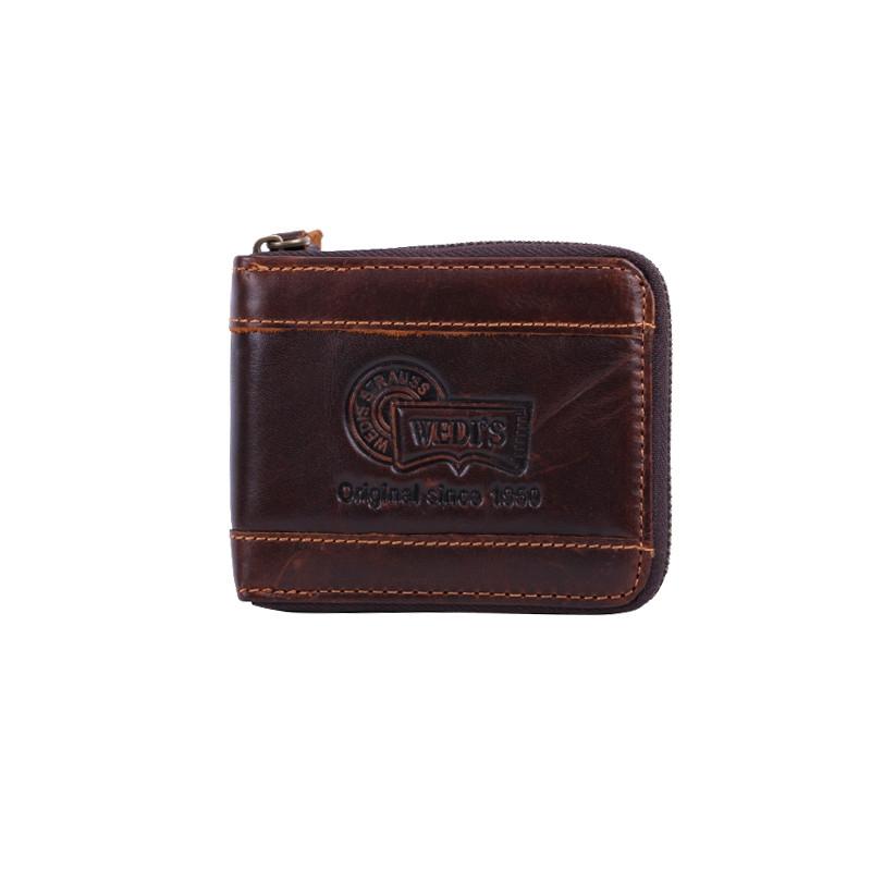9.52$  Buy now - http://alipj5.shopchina.info/go.php?t=32759785213 - Vintage crazy horse Leather Men Wallet Genuine Leather wallet zipper male wallet Men purse Money Clips Clutch Brown 9.52$ #magazineonline