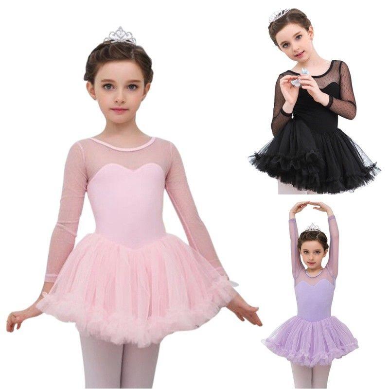 UK Kid Girls Ballet Dancing Tutu Dress Gymnastics Tulle Leotard Dancewear Skirts