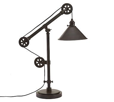 warren pulley metal task table lamp rustic iron finish home items rh pinterest com