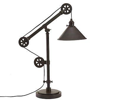 Warren pulley metal task table lamp rustic iron finish pulley warren pulley metal task table lamp rustic iron finish mozeypictures Image collections