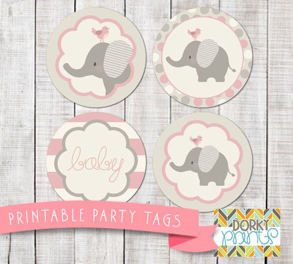 Pink Elephant Baby Shower Printable Circle Tags PDF - Printable - baby shower template