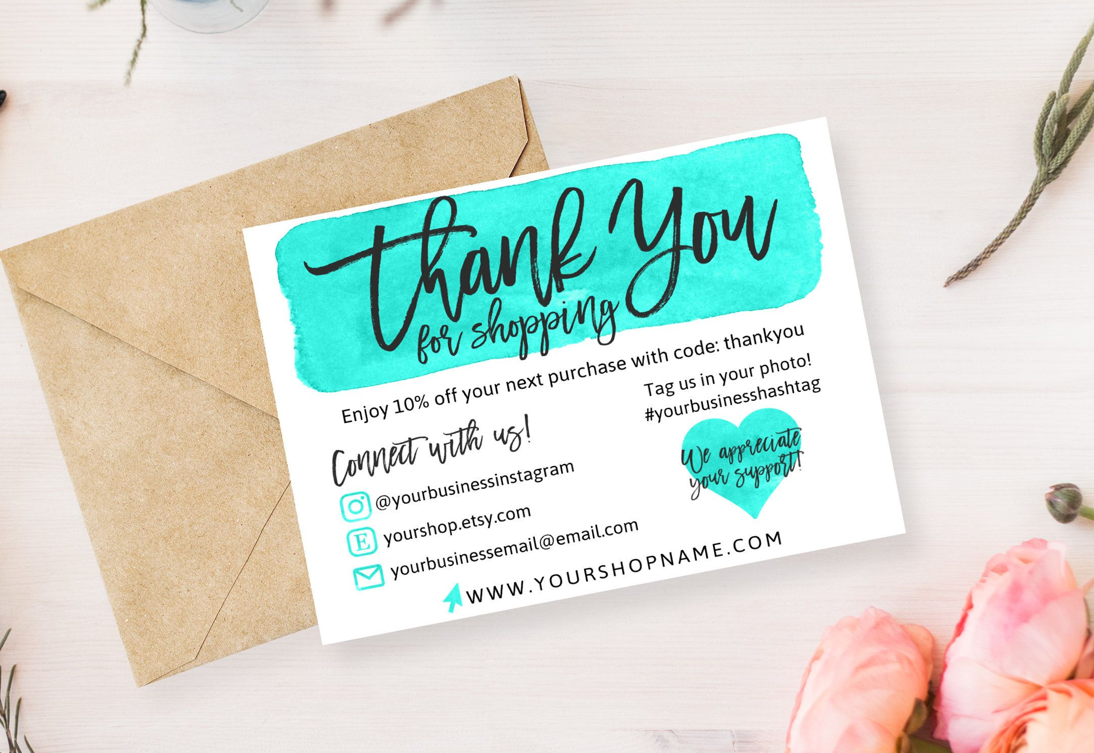 Diy Printable Thank You Card For Your Order Teal Gold Small