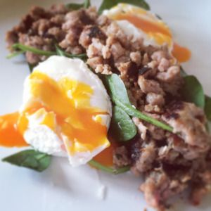Poached Eggs, Turkey Mince and Baby Spinach www ...