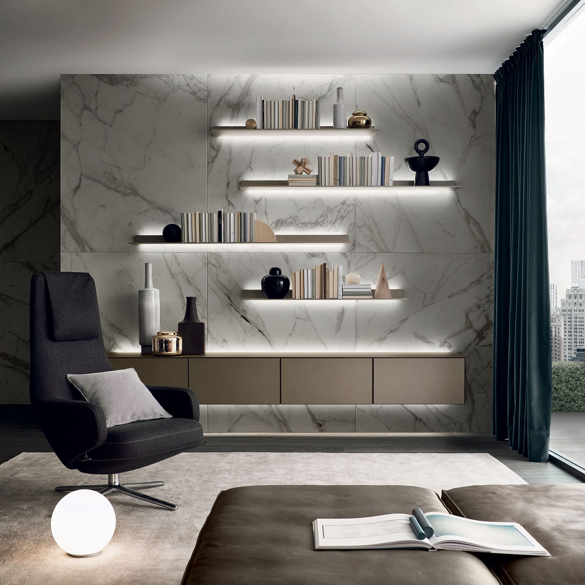 Rimadesiou0027s Self Freestanding Lacquered Glass Storage Unit