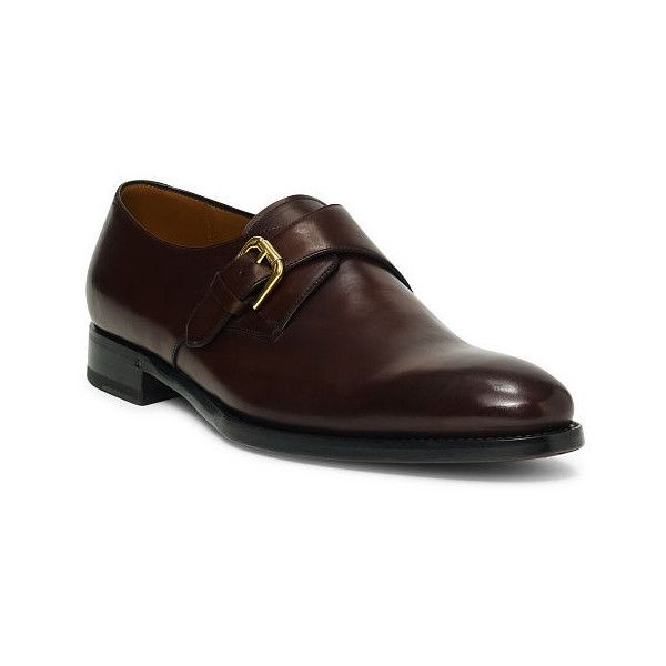 Ralph Lauren Darnell Calf Monk-Strap Shoe ($1,250) ❤ liked on Polyvore  featuring men's fashion, men's shoes, men's dress shoes, mens buckle shoes,  ralph ...