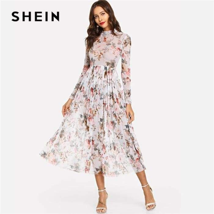 946b03fc3ce Gender  Women Silhouette  A-Line Sleeve Style  Regular Waistline  Empire  Model Number  dress180731719 Brand Name  SheIn Neckline  Stand Material   Polyester ...