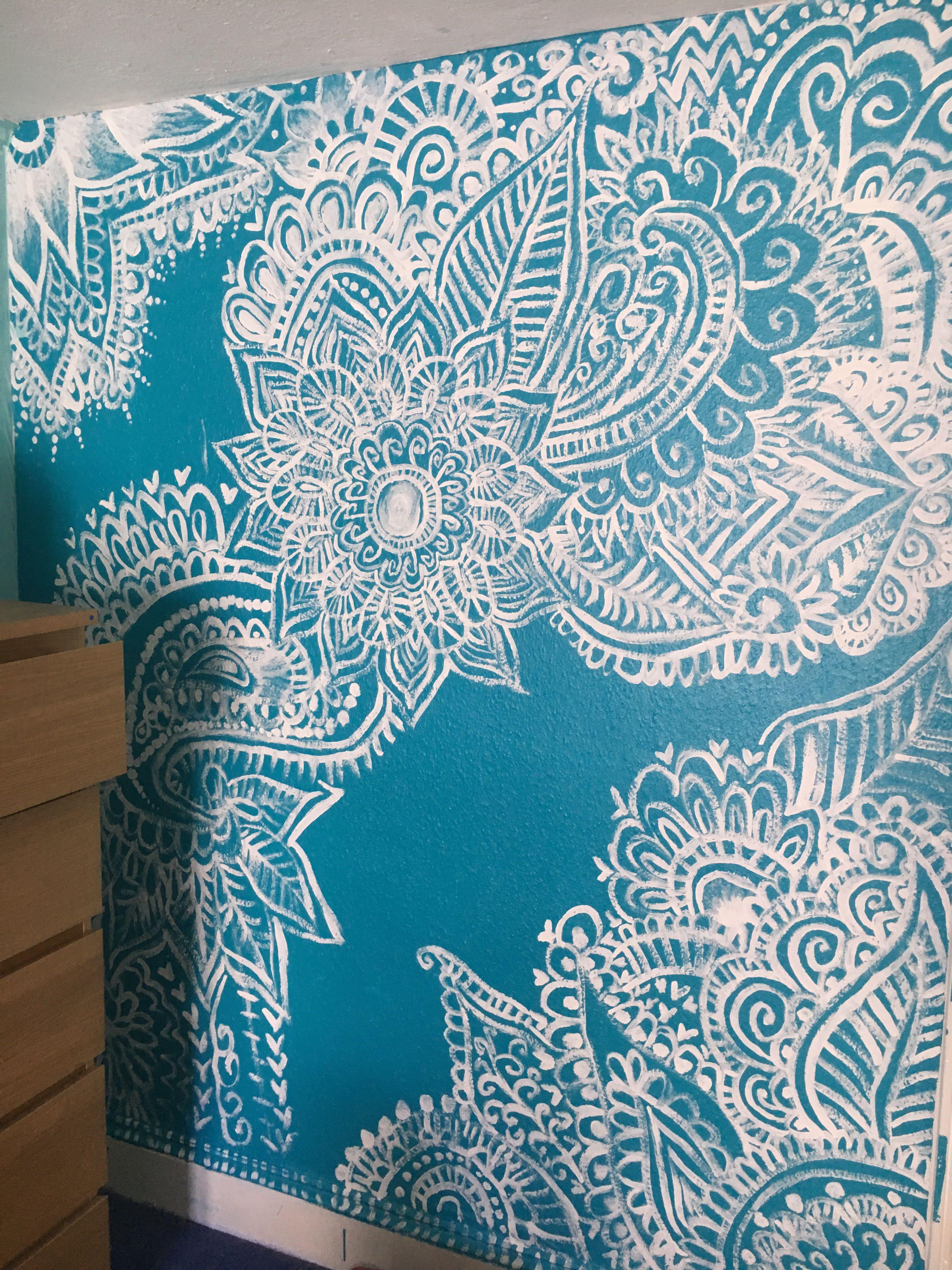 Henna Design Feature Wall Painting Wall Paint Patterns Henna Wall Art Mandala Wall Art