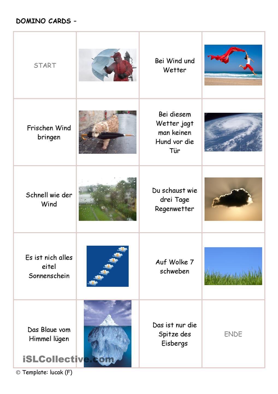 Domino Redewendungen um das Wetter | DaF | Pinterest