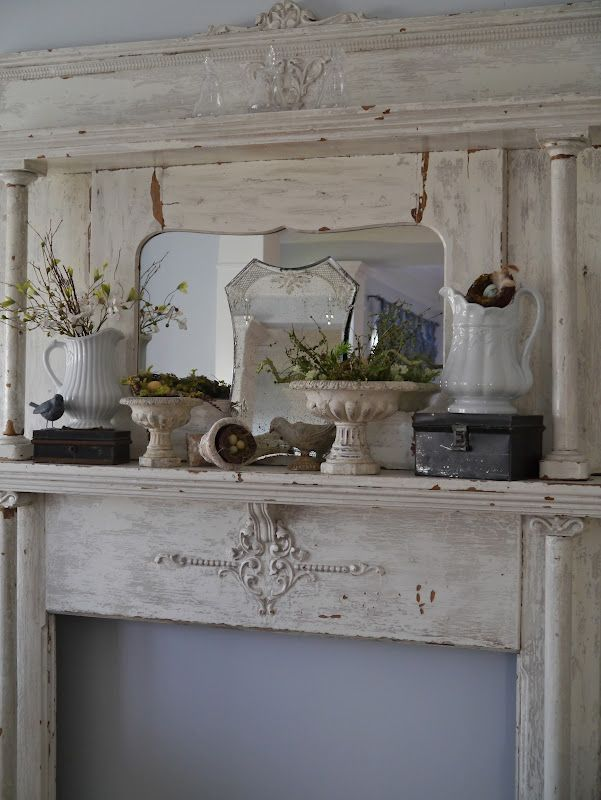 Spring Mantel Shabby Chic Fireplace Decor Fireplace Decor