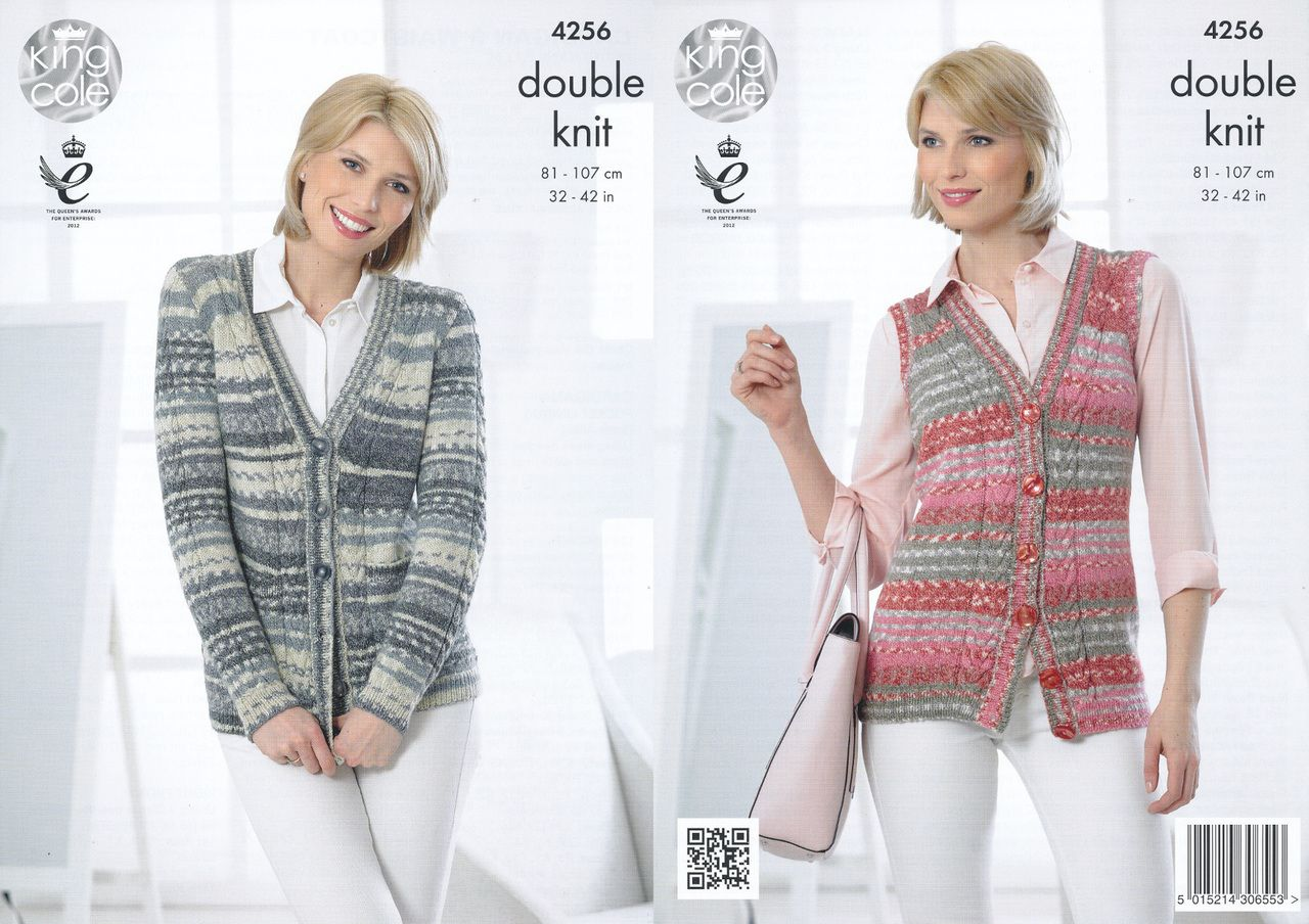05d3a3177 King Cole Double Knitting Pattern - Ladies Cardigan   Waistcoat (4256) -  Mill Outlets