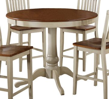 Steve Silver Candice 48 Inch Round Counter Height Table In Oak And White  Contemporary Dining Tables