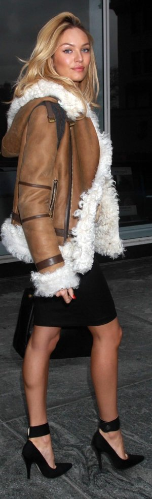 Candice S in Burberry shearling coat