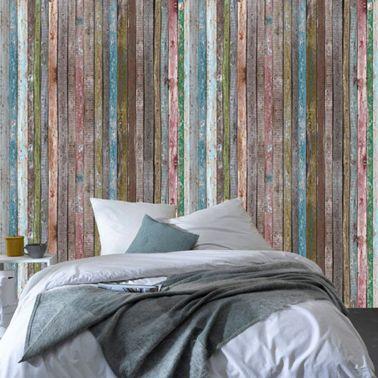 Papier peint trompe l 39 oeil planche bois color 4murs deco - Papier peint trompe l oeil pour chambre adulte ...