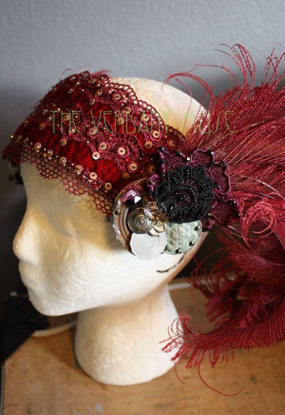 Crimson Kopfschmuck Base Hand Perlen samt von theverdantmuse