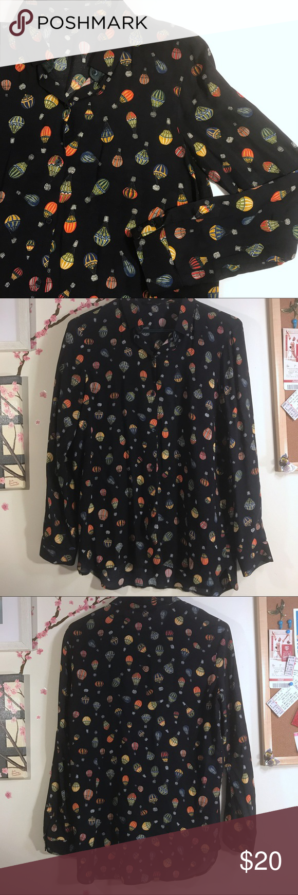 cb7d49ace89635 Zara Basics Hot Air Balloon Print Button Down Size small black background  Zara Basics long sleeve