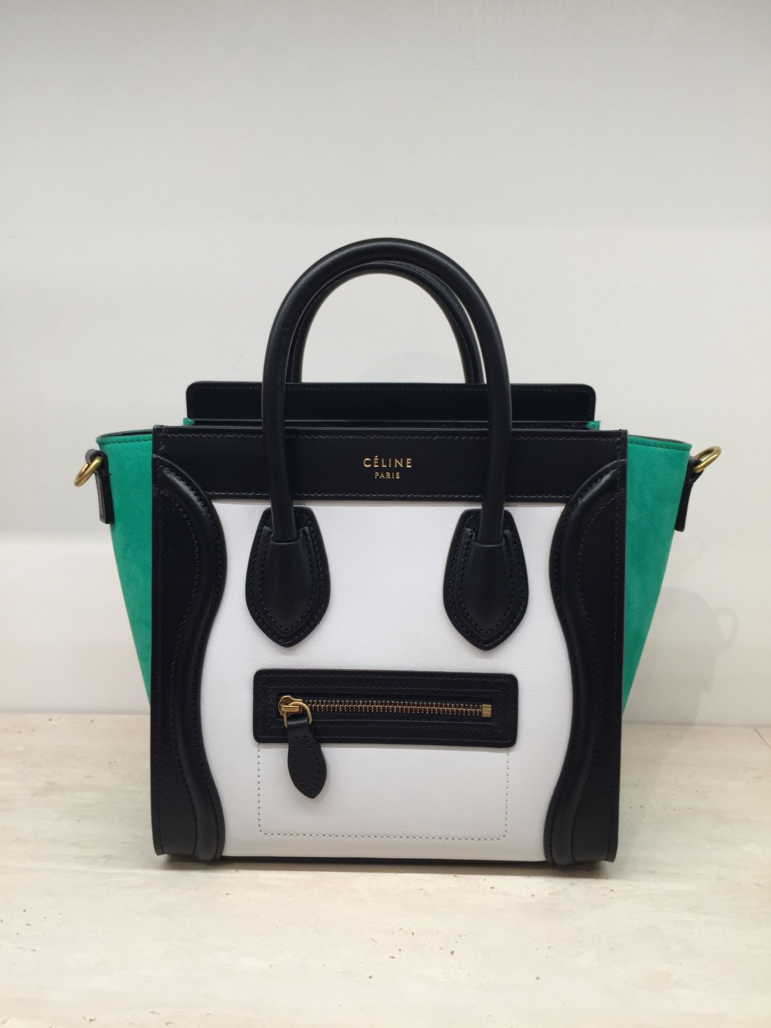 c37ca15876df Celine nano luggage tote handbag tri-color green white black