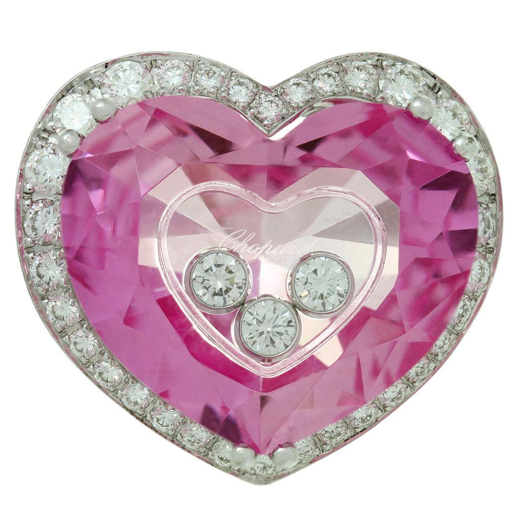 Chopard Happy Diamond Pink Quartz Gold Heart Ring | Pink quartz ...
