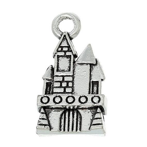 10 silver haunted house charm pendants castle fairy tale house chs1867a