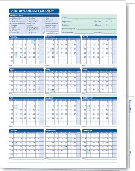 Employee Attendance Calendar 2016, Tracker Templates 2016 - attendance calendar templates