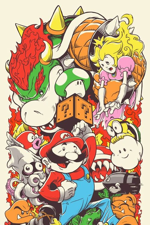 """""""Super Mario Bros."""" Joshua Budich Possible half sleeve..? Like the arrangement, but iffy on the character style..."""