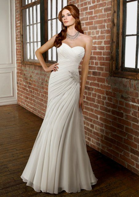 vestidos novia low cost: vestido de novia linea capilla drapeado