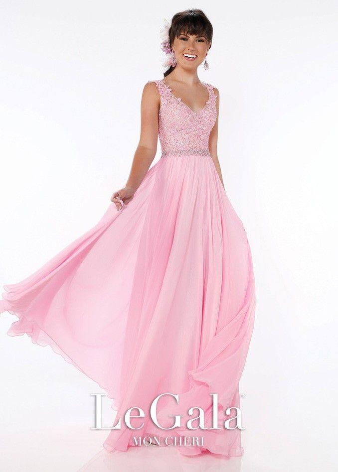 Le Gala by Mon Cheri 116561 Pink Lace Tank Style Prom Dress | 2016 ...