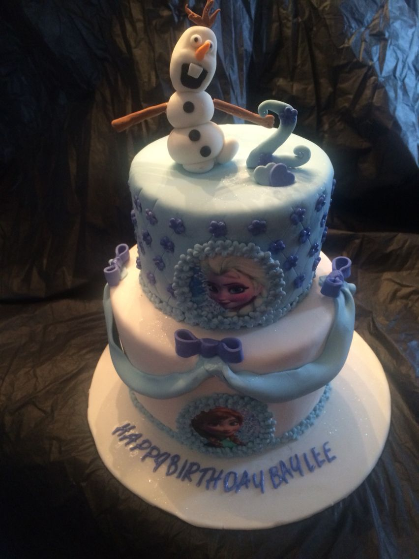 An elegant frozen 2 tier birthday cake httpswww
