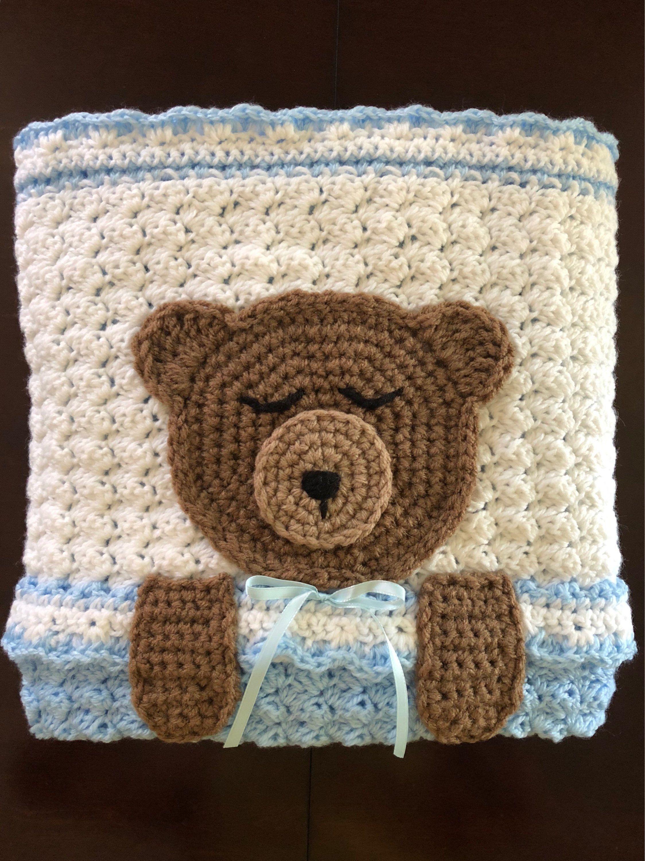 Amazon.com: Crochet Teddy Bear Baby Blanket: Handmade | 3000x2248