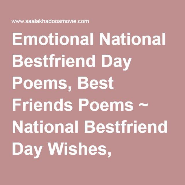Emotional National Bestfriend Day Poems, Best Friends Poems ...