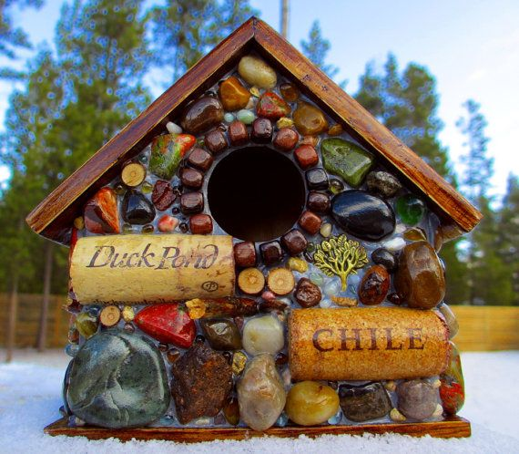 Outdoor Mosaic Birdhouse with wine corks by WinestoneBirdhouses, $55.00