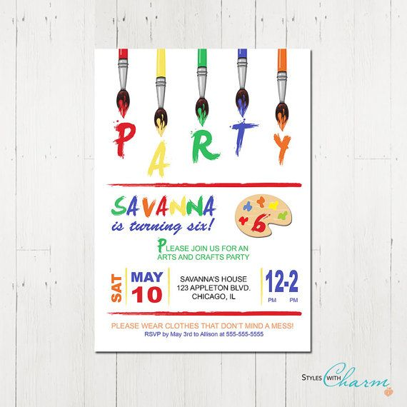 Art Party Invitation  Painting Party Invitation door StyleswithCharm, $12.00