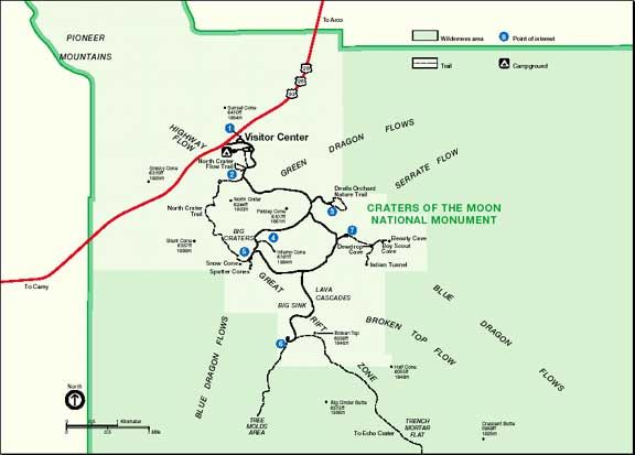 Idaho Craters Of The Moon National Monument Map on nez perce national forest map, idaho national parks map, national park highway map,