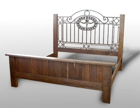 d27725b91894a 1920s Deco Vintage Antique King Bed Frame with Wrought Iron Headboard