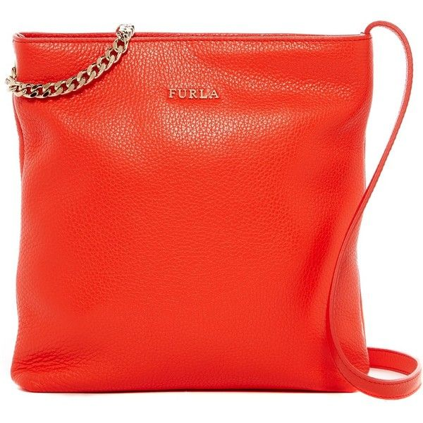 Furla Julia Chain Small Leather Crossbody ($150) ❤ liked on Polyvore featuring bags, handbags, shoulder bags, arancio a, chain strap shoulder bag, leather shoulder handbags, leather cross body purse, chain strap purse and cross-body handbag