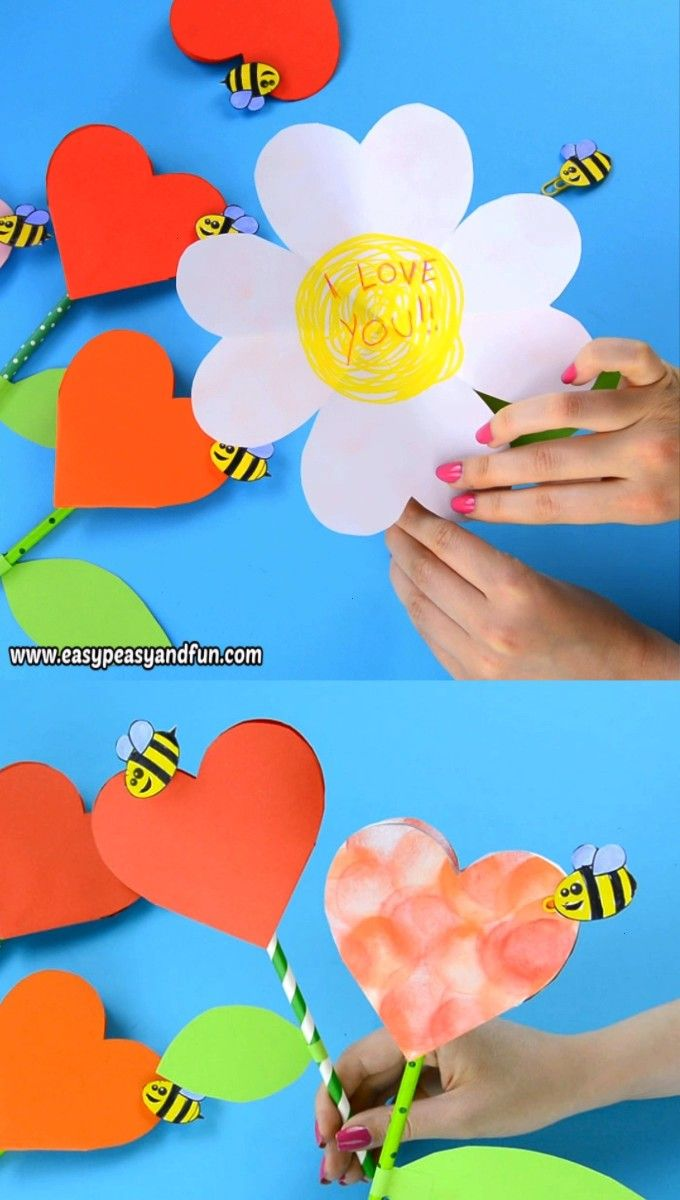 Heart Flower Craft with Template This paper heart flower craft is perfect both for Mothers day a great alternative to your regular Mothers day card or for VdayThis paper...