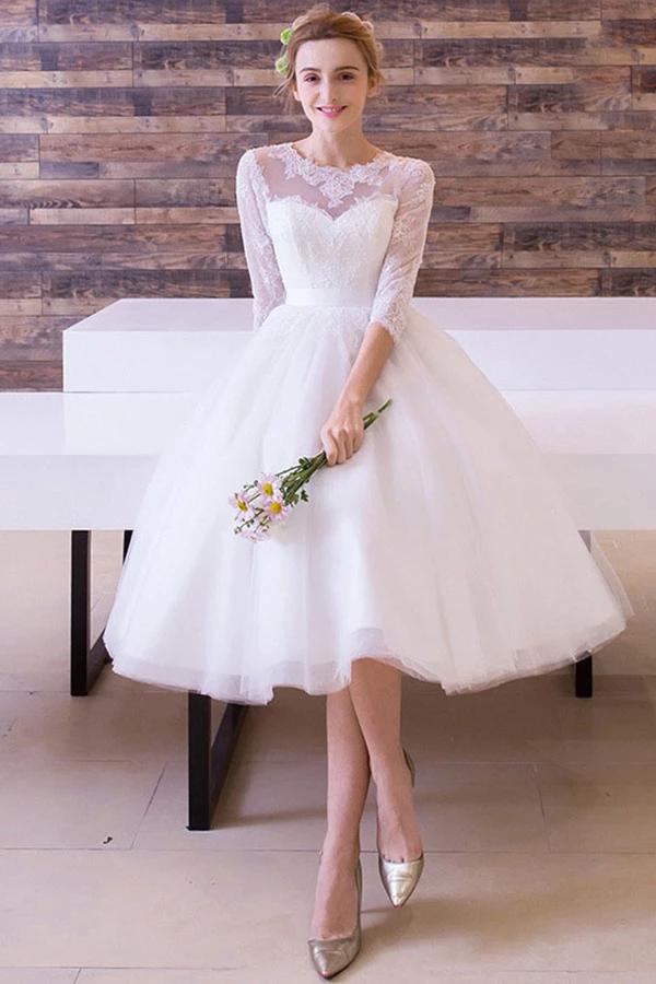 3/4 Sleeves Tealength Bridal Wedding Dresses (med bilder)