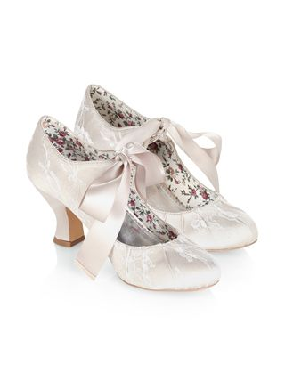 Our Vintage Inspired Izabela Bridal Shoes Are Covered In Lace And Adorned With Tie