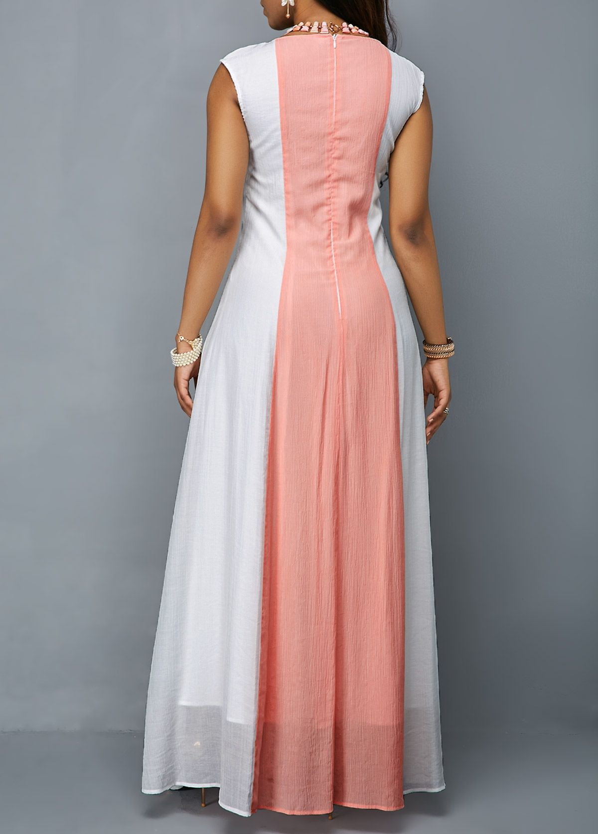 Sleeveless Zipper Back Round Neck Maxi Dress Rotita Com Usd 37 47 Long Summer Dresses Dresses Maxi Dress [ 1674 x 1200 Pixel ]