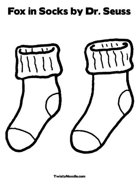 socks coloring pages Fox in Socks by Dr Seuss Coloring Page from TwistyNoodle. socks coloring pages
