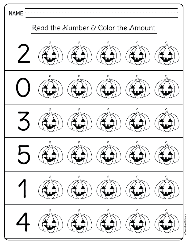 Halloween kindergarten worksheets for math centers and