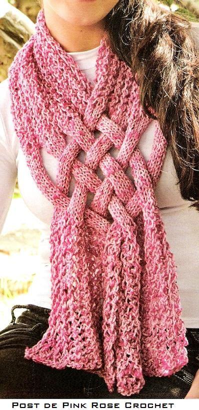 Cachecol Trançado – Tricô | Pink Rose Crochet | cachecol | Pinterest ...