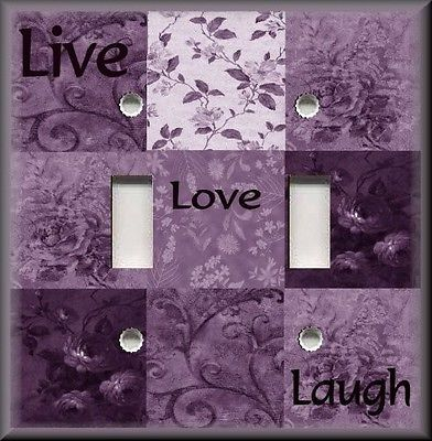 Light Switch Plate Cover   Inspirational Sayings   Live Love Laugh   Plum  Purple