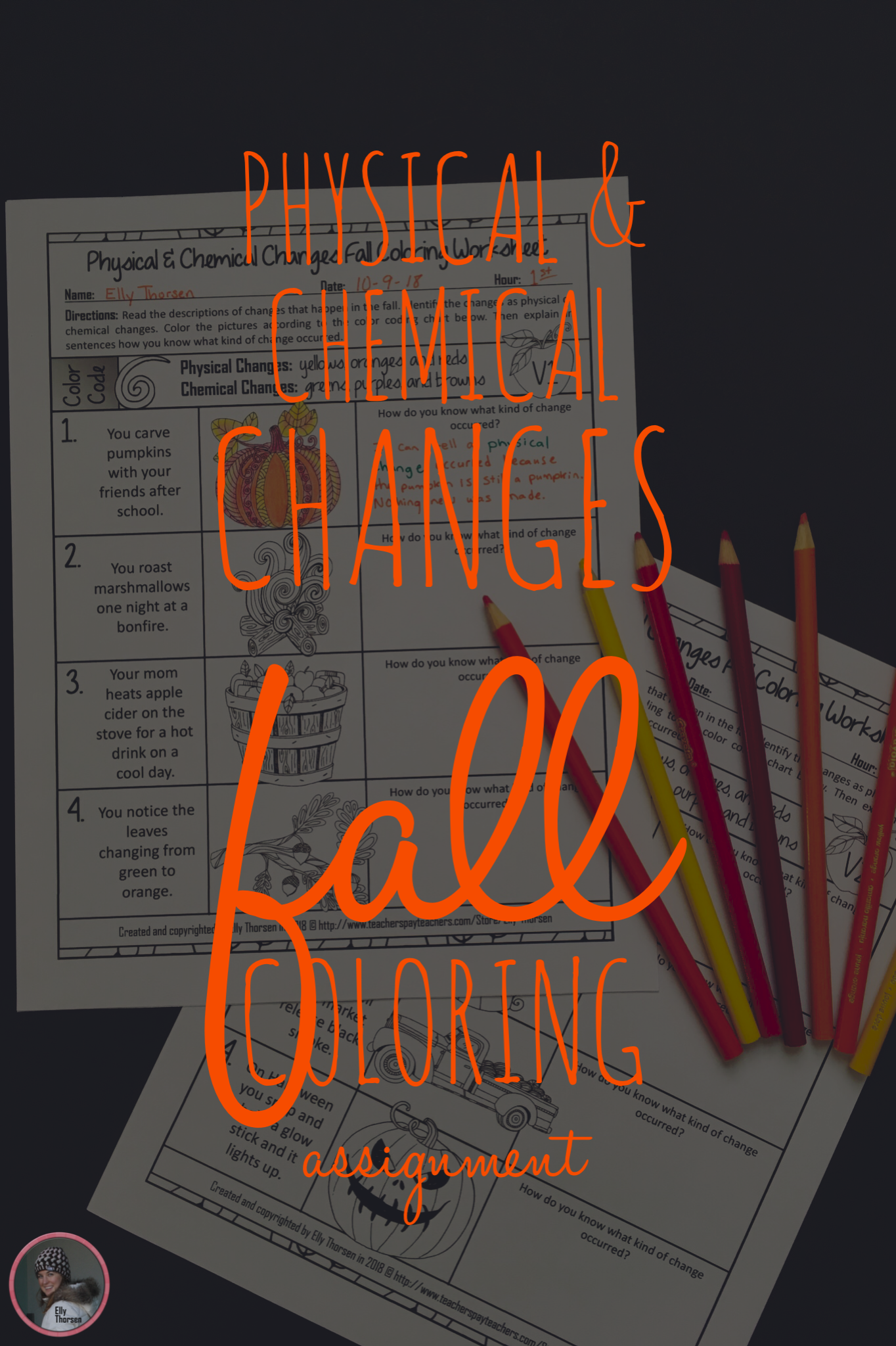 Physical And Chemical Changes Fall Themed Coloring