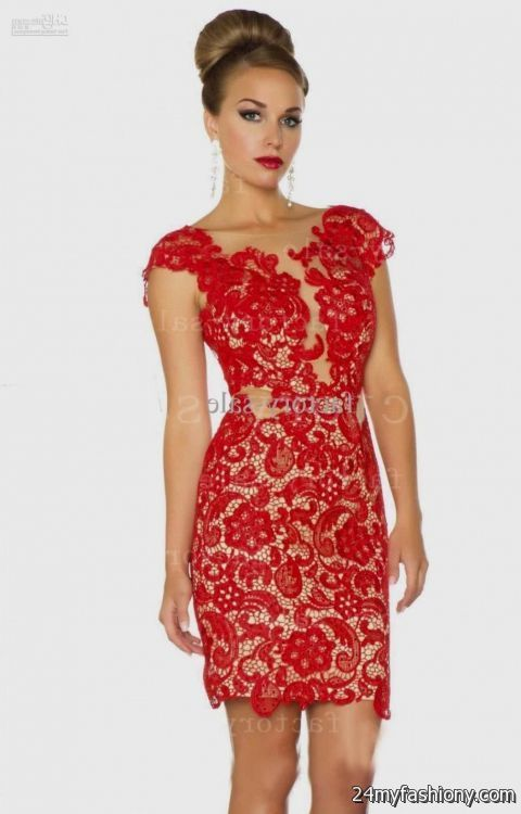 Awesome Red lace cocktail dress 2017-2018 Check more at http ...
