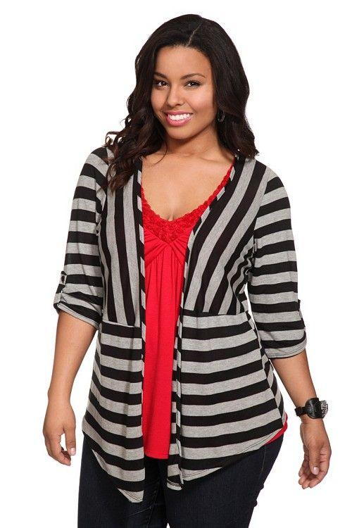 grey striped open cardigan