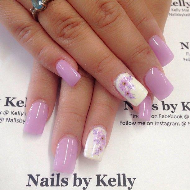 Nailsbykellymf On Instagram Lavender Flowers Lavender Nails Easter Nail Designs Flower Nails