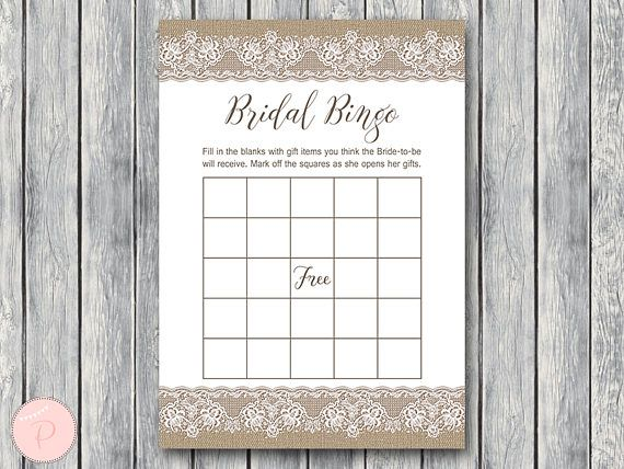 Burlap and Lace Bridal Shower Bingo Cards Printable Bridal #babyshowerideas4u #birthdayparty  #babyshowerdecorations  #bridalshower  #bridalshowerideas #babyshowergames #bridalshowergame  #bridalshowerfavors  #bridalshowercakes  #babyshowerfavors  #babyshowercakes