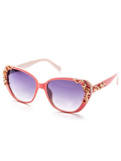 4dc786726f Gafas del sol con montura con metal-Sheinside | Gafas | Gafas de sol ...